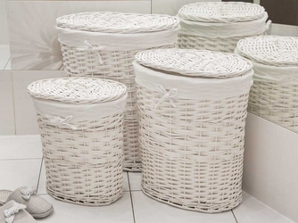Kosz na pranie  bieliznę  brudownik wiklinowy owalny z pokrywą altom design biały, zestaw 3 koszy