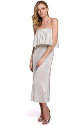 sukienka hiszpanka z metalicznej plisowanej tkaniny - srebrna