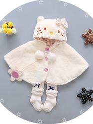 Biała pelerynka hello kitty, białe futerko dla dziewczynki