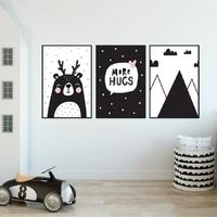 Zestaw plakatów dziecięcych - scandi effect , wymiary - 50cm x 70cm 3 sztuki, kolor ramki - biały