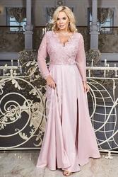 Pudrowo różowa sukienka wieczorowa plus size - carmen 34