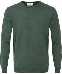 Sweter  pulower o-neck z wełny z merynosów zielony xl