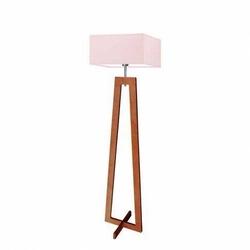 Lampa podłogowa jawa abażur jasny różowy stelaż mahoniowy - beżowy