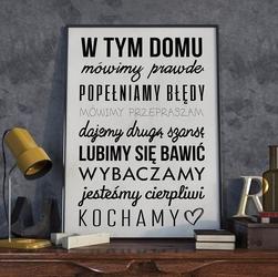 W tym domu - plakat typograficzny , wymiary - 20cm x 30cm, ramka - czarna