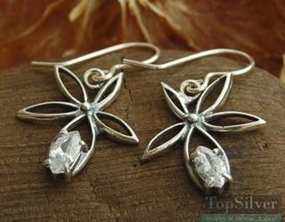 Whitegrass - srebrne kolczyki z kryształem swarovskie