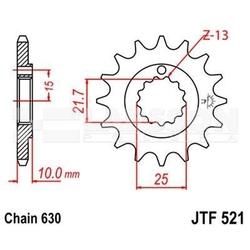 Zębatka przednia jt f521-15, 15z, rozmiar 630 2200162 kawasaki z 1000