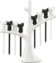 Widelczyki do przekąsek miaou 8 szt. na stojaku czarno-białe