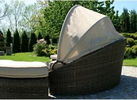 Łóżko ogrodowe z baldachimem korynt grafitowo-brązowy