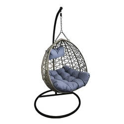 Fotel wiszący bujany ogrodowy kosz huśtawka kokon szary