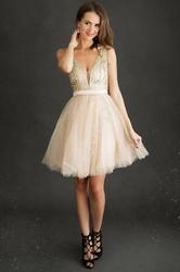 Krótka brokatowa sukienka z tiulem w kolorze złota 2220