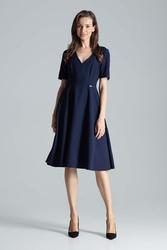 Granatowa klasyczna rozkloszowana sukienka za kolano z dekoltem v