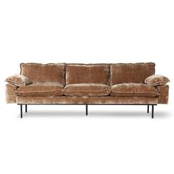 Hkliving sofa retro 4-osobowa aksamitny sztruks w kolorze postarzanego złota mzm4917