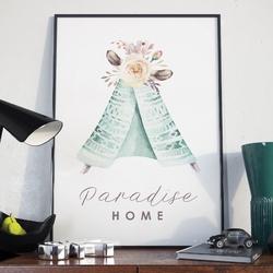 Plakat w ramie - paradise home , wymiary - 50cm x 70cm, ramka - czarna