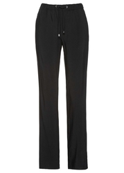 Spodnie bez zamka z wiskozy z nadrukiem bonprix czarny