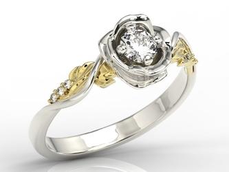 Pierścionek złoty w kształcie róży z brylantami lp-7730bz - białe i żółte  diament