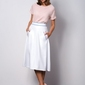 Elegancka biała rozkloszowana spódnica midi vega
