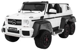 Mercedes g63 6x6 tablet mp4 biały - dwuosobowy samochód na akumulator do 110kg