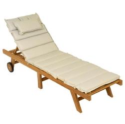 Leżak ogrodowy, składany pokryty drewnem teakowym