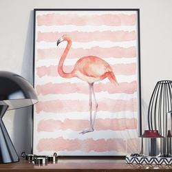 Plakat w ramie - pink flamingo , wymiary - 70cm x 100cm, ramka - czarna