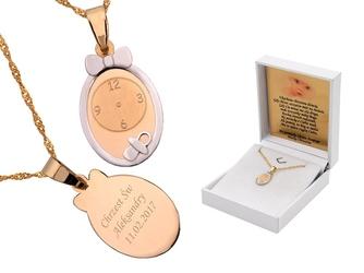 Złoty komplet pr. 585 zegar roczek chrzest grawer różowa kokardka - białe z różową kokardką
