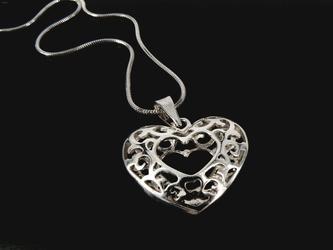 Naszyjnik serce duże srebro 925 prezent z grawerem
