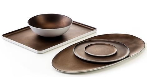 Talerz prostokątny - półmisek do serwowania, porcelanowy eter verlo miedziany v-85014-6