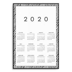 Zebra - kalendarz w ramie , wymiary - 70cm x 100cm, kolor ramki - czarny