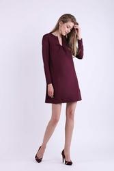 Bordowa Trapezowa Krótka sukienka z Kokardką na Dekolcie