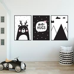 Zestaw plakatów dziecięcych - scandi effect , wymiary - 60cm x 90cm 3 sztuki, kolor ramki - biały