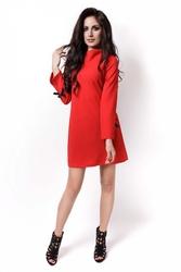 Czerwona sukienka wizytowa z kokardkami na rękawach