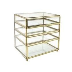 Hk living :: mała komoda na biurko ze szkła i mosiądzu