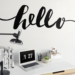 Hello - naklejka ścienna w skandynawskim stylu , kolor naklejki - biała, wymiary naklejki - 100cm x 25cm