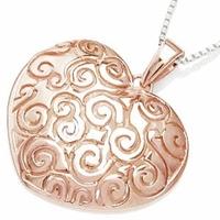 Lady rose srebrny wisiorek serce w różowym złocie