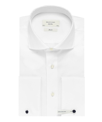 Extra długa biała koszula taliowana slim fit z mankietami na spinki 37