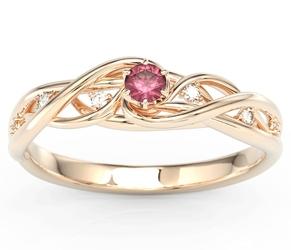 Pierścionek z różowego złota z rubinem i brylantami bp-75p - różowe  rubin