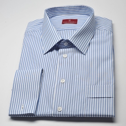 Elegancka koszula męska van thorn slim fit w biało niebieskie paski 39