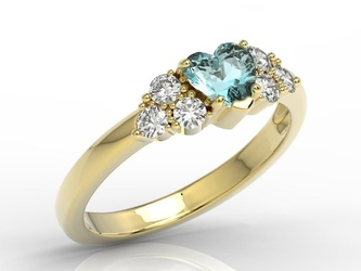 Pierścionek z żółtego złota z niebieskim topazem swarovski i diamentami bp-54z - żółte  topaz ice blue