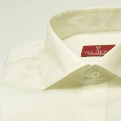 Elegancka śmietankowa ecru koszula slim fit z krytą listwą i włoskim kołnierzykiem 40