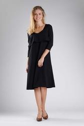 Czarna luźna sukienka w serek z nakładką