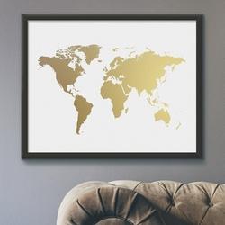 Mapa świata - plakat ze złotym nadrukiem , wymiary - 50cm x 70cm, kolor ramki - biały, kolor nadruku - złoty