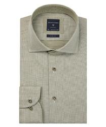 Ekstra długa zielona koszula profuomo w gęsty wzór slim fit 42