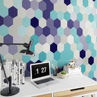 Niebieskie sześciokąty - tapeta designerska , rodzaj - tapeta flizelinowa