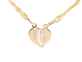 Złoty wisiorek serce łamane pr. 585 grawer złota kokardka