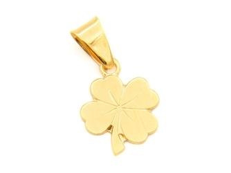 Naszyjnik koniczynka złoto pr.585 grawer różowa kokardka