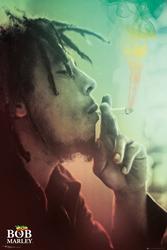 Bob marley smoking lights - plakat