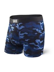 Bokserki męskie saxx vibe boxer modern fit - blue camo - camo