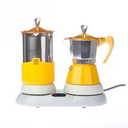 Kawiarka elektryczna + spieniacz żółte Gatpuccino G.A.T.
