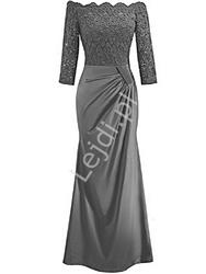 Elegancka długa sukienka hiszpanka - szara