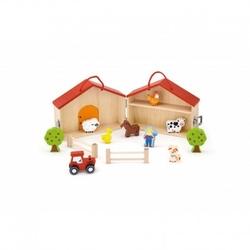 Dwupiętrowa farma drewniana viga toys zagroda zwierzęta figurki 13 elementów