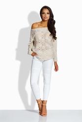 Beżowy sweter z ażurowym wzorem